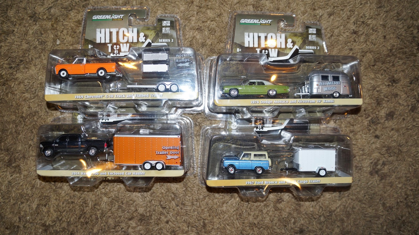 1 64 scale trucks and trailers - Greenlight 32020 1 64 Scale Hitch Tow Series 2 Complete Set Of 4 Dodge Monaco With Airstream Ford Bronco 4x4 Chevy Truck And Dodge Ram All With