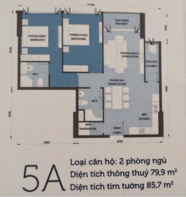Căn hộ Vinhomes Central Park 6 - căn hộ số 5A - 85.7m2 - 2PN