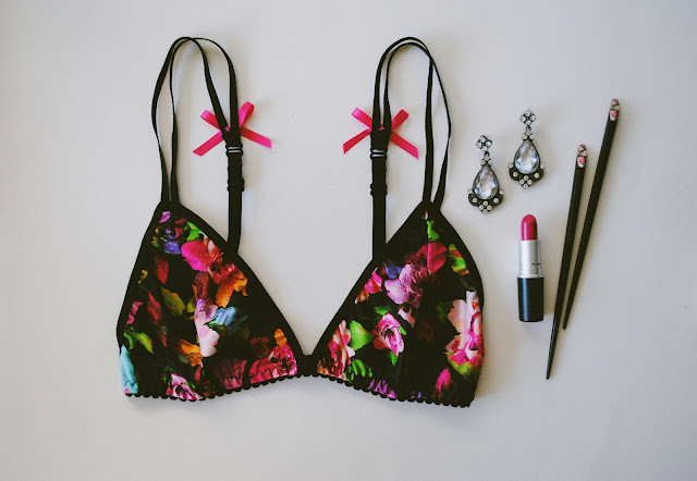 Handmade Floral Bra paired with MAC lipstick and some cute chopsticks