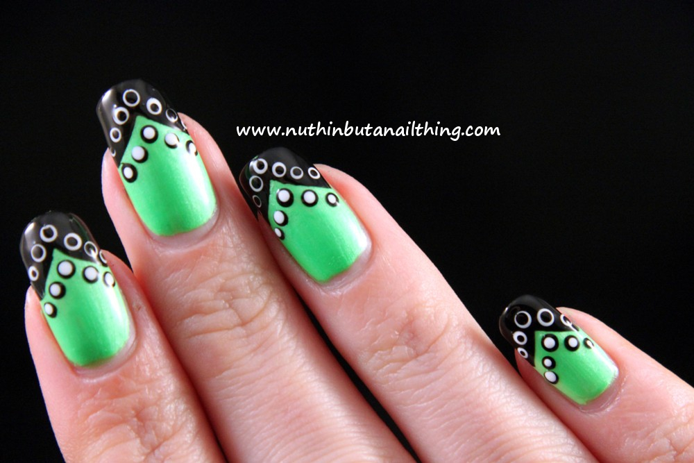Nuthin but a nail thing barry m neon green tipped and polka dotted neon green nail art 2g prinsesfo Gallery