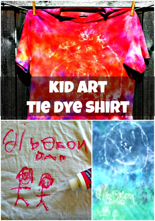 Turn your child's drawings into a cool tie dye shirt for dad!