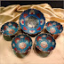 Vintage Peacock Bowls Indian Brass Enamel Set of 5 Blue (19122)
