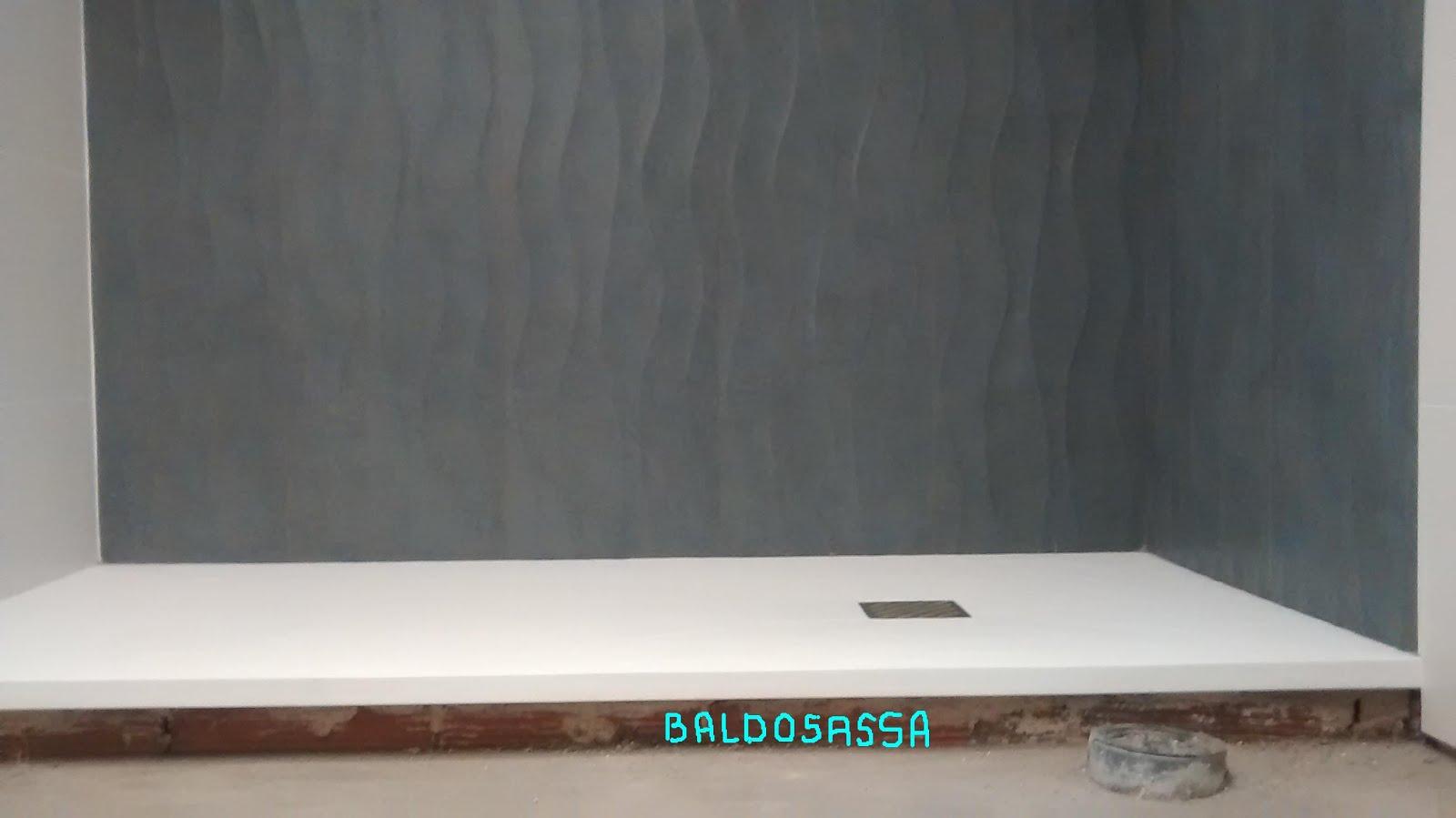 Juntas Baldosas Baño:PLATO DUCHA CARGA MINERAL Y BALDOSAS DE 90*30 RECTIFICADAS