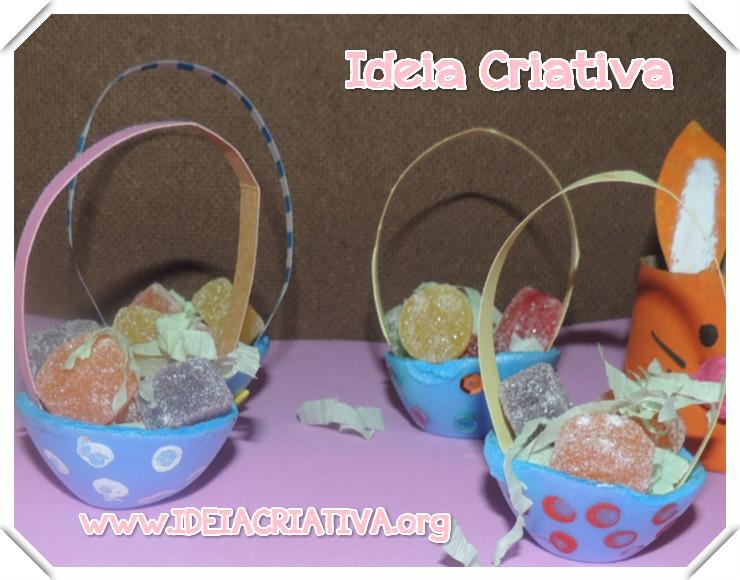 Cestinha de Caixa de Ovos Reciclagem Lembrancinha de Páscoa