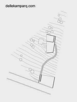 Plano topográfico y de techos de la casa en la pendiente