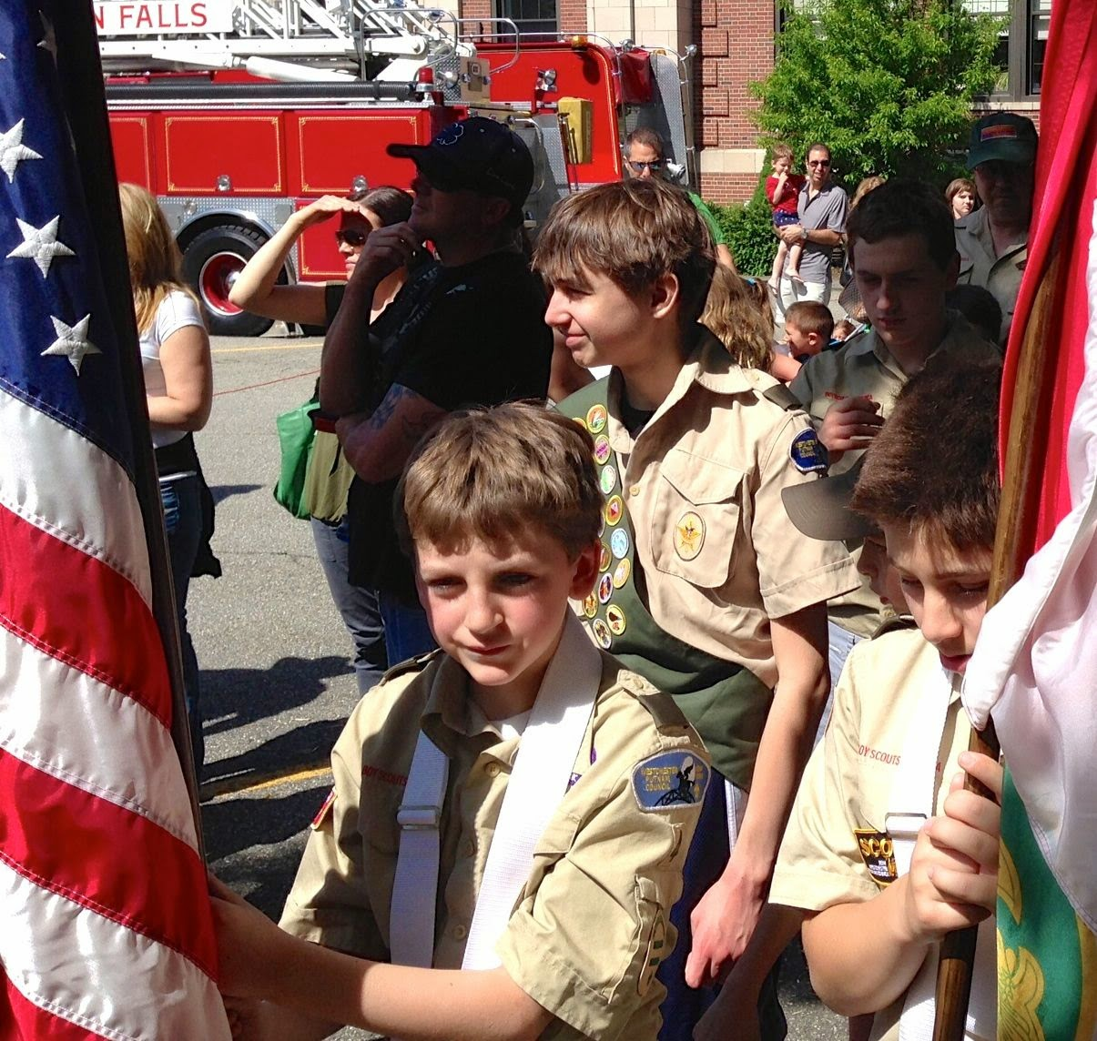 boy scouts in parade: simplelivingeating.com
