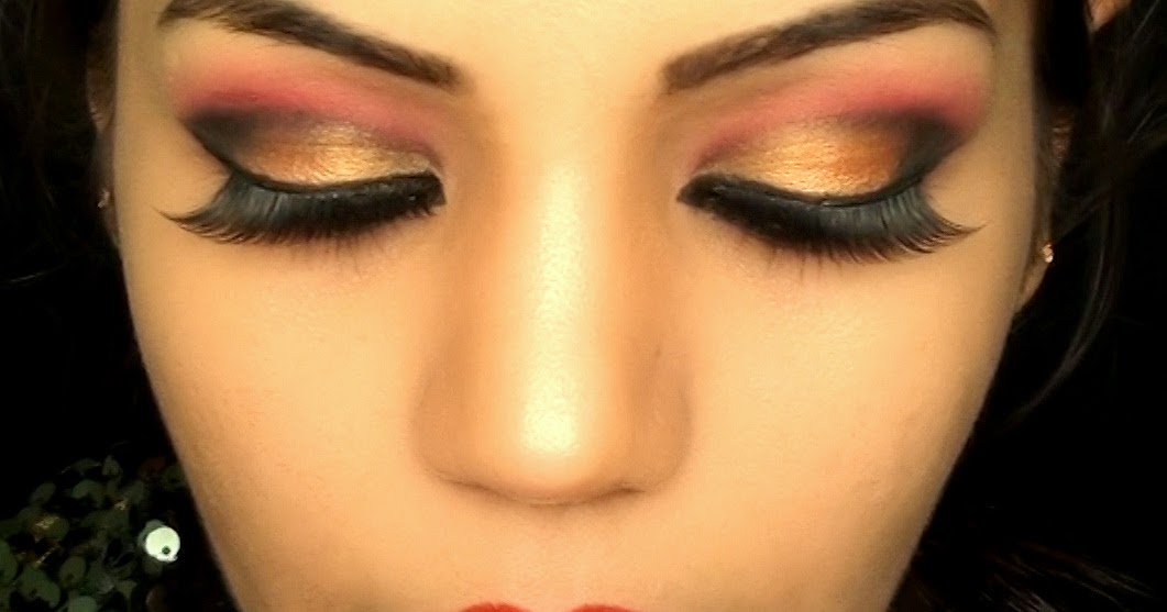 Indian Bridal Wedding Makeup Red And Gold Bollywood Eye Makeup For