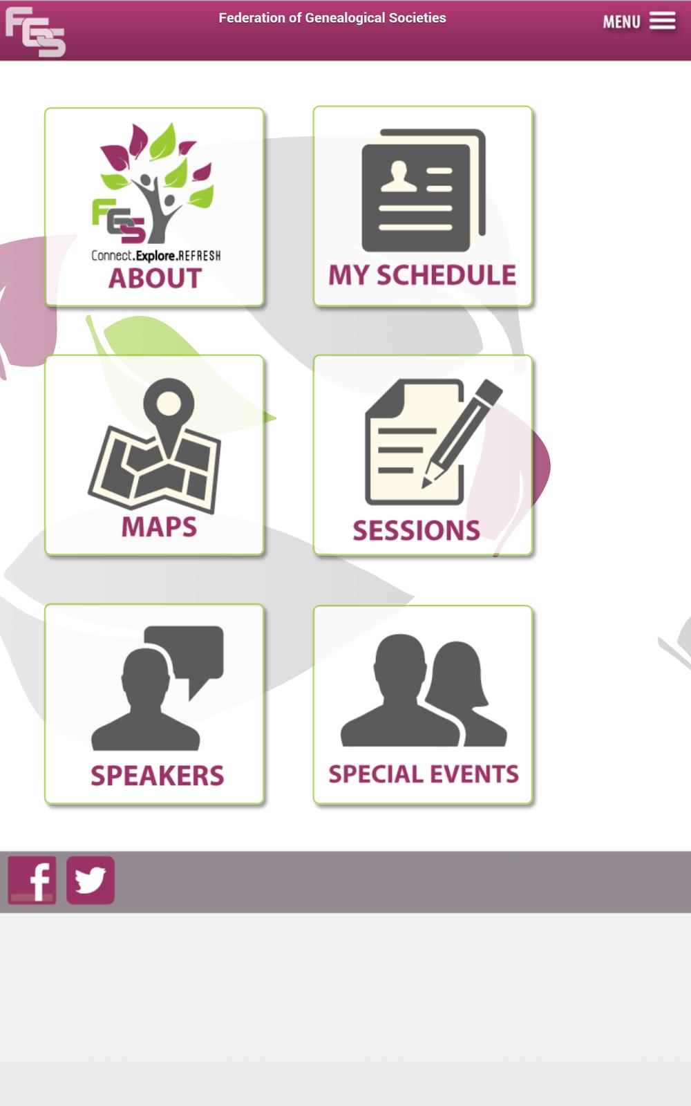 FGS App Conference Menu