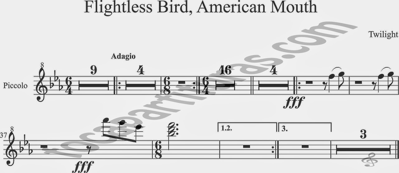 Partitura de Flightless Bird, American Mouth para Picollo (acompañamiento) de Crepúsculo Twilight Sheet Music