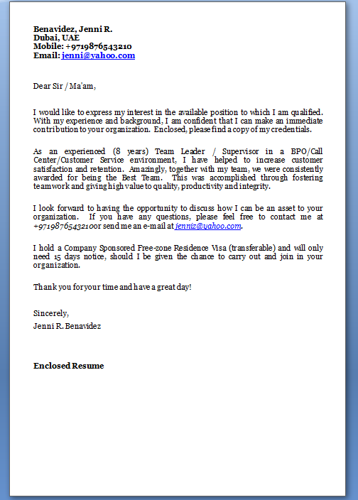 sample cover letter for job application for customer service