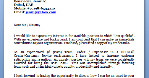 Cover letter writing service team leader position call centre