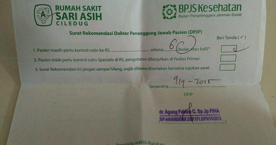 Surat Rekomendasi DPJP, Agar Pasien BPJS Tidak Minta ...