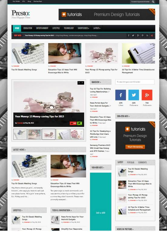 Wordpress And Blogger Templates Free Download: Presto – Responsive ...