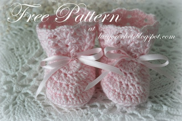 Crochet Baby Booties Pattern For Free : Lacy Crochet: Crochet Baby Booties, Size 0-6 Months, Free ...