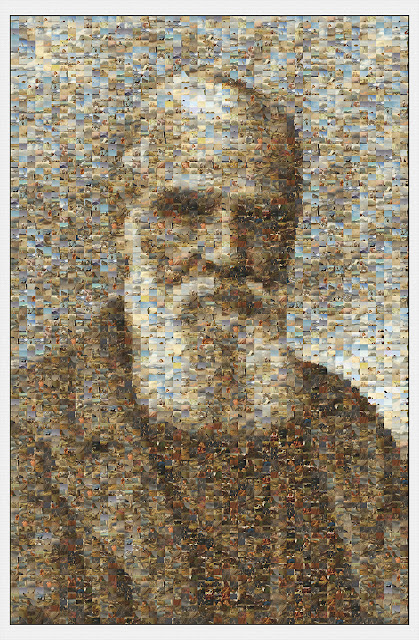 A portrait of the painter Richard Ansdell (1815-1885) by Russell Payne composed entirely of sections of his own paintings.