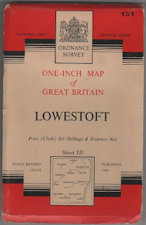 1954 Ordnance Survey, cloth map of Lowestoft, Suffolk