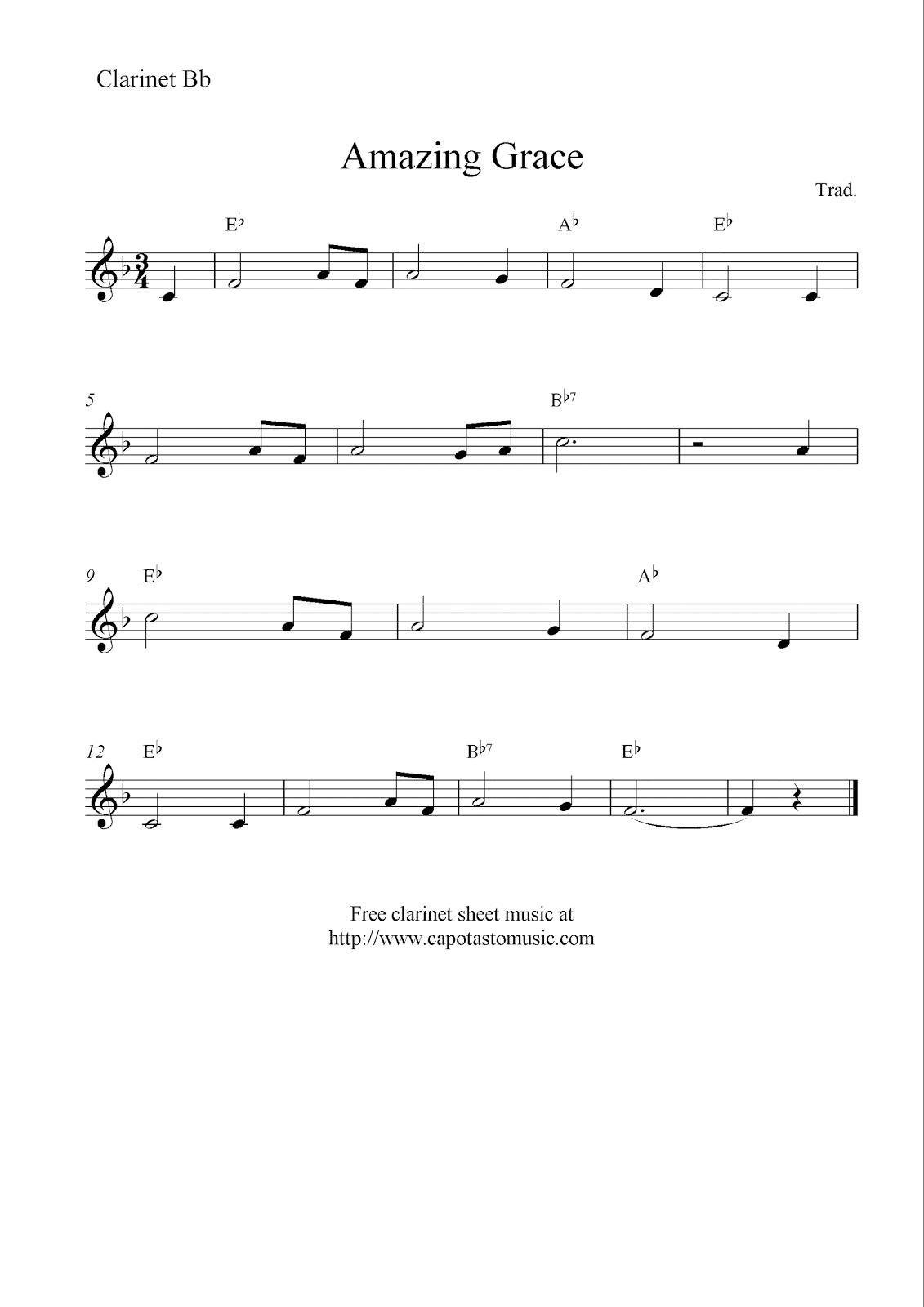 Amazing grace free clarinet sheet music notes