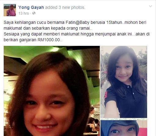 Nenek Tawar RM1 000 Cari Cucu Yang Hilang