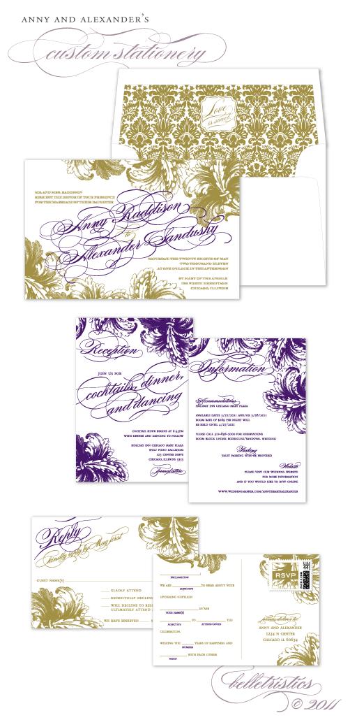 elegant formal couture flourish printable wedding invitation design
