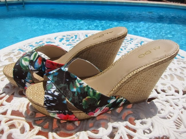 Aldo Tropical Print Wedge Summer Sandals