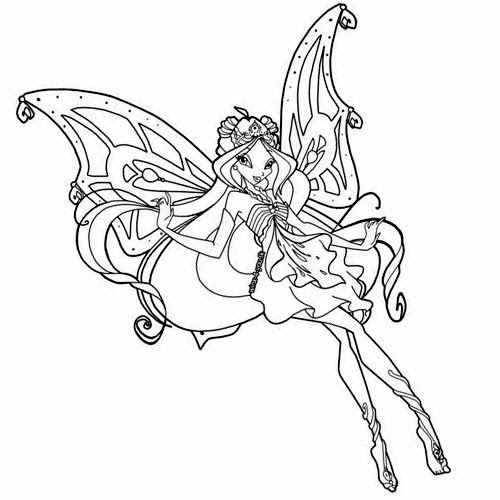 Cute fairy tattoo stencil