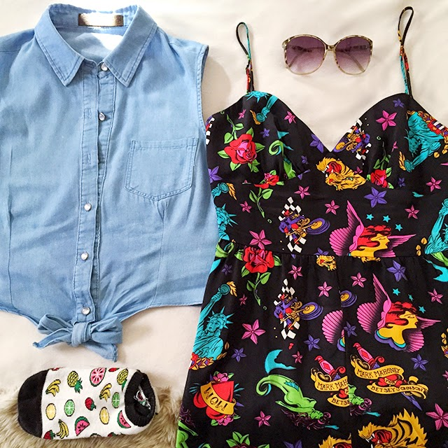flat lay of outfit of the day