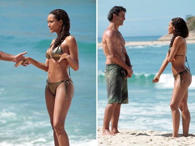 Cena em que o surfista Gilson (Marcos Pasquim) conhece a Empreguete Penha (Taís Araújo) na praia