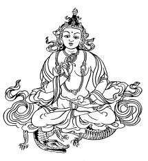 Buddhist Art Work: Line Art, Varuna Deva