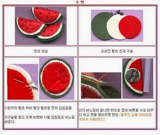 Frutas de feltro e tecido com moldes