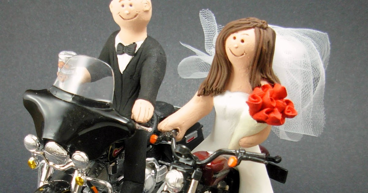 Personalized Motorcycle Wedding Cake Toppers Bride Topper Custom