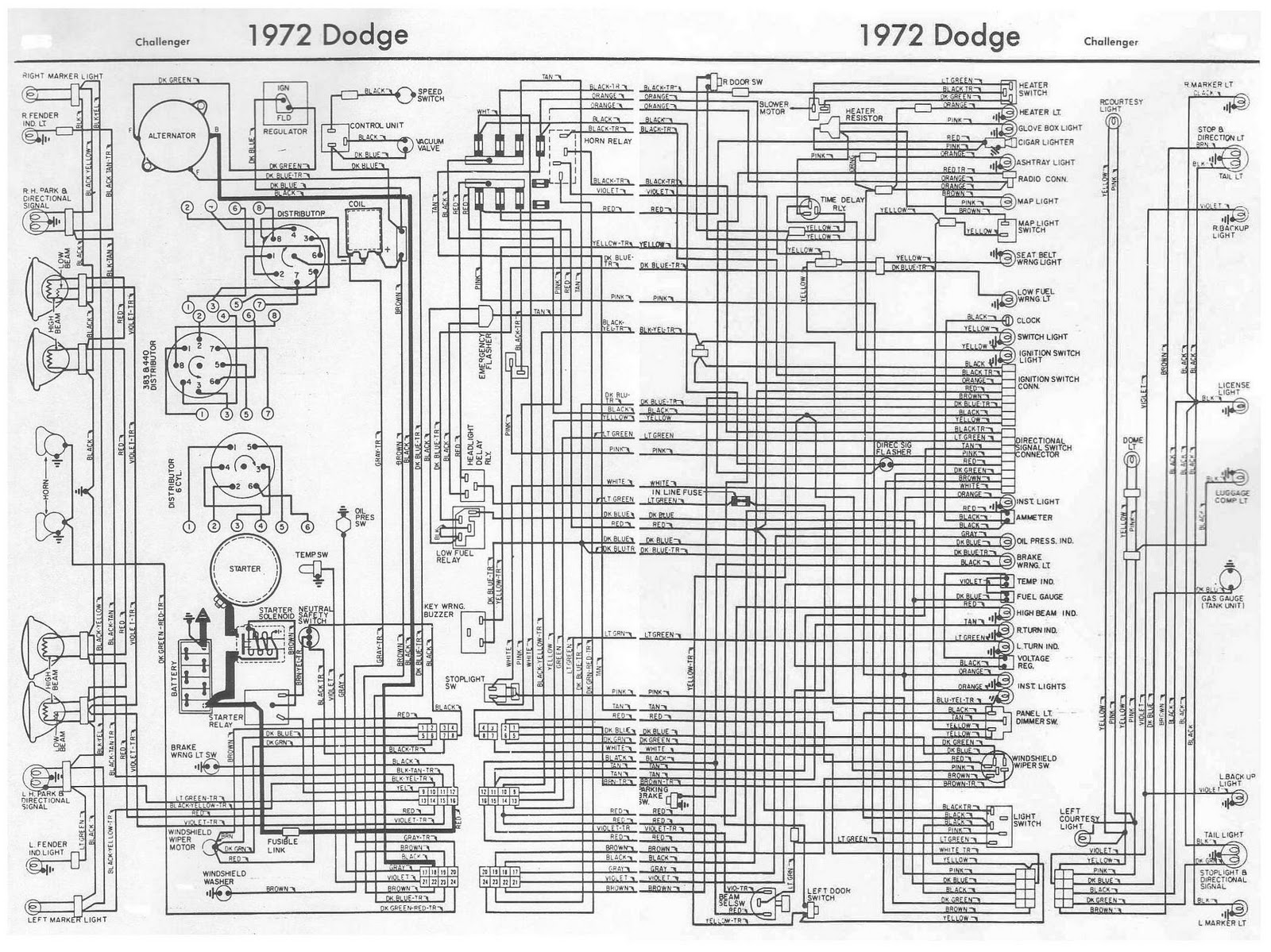 Dodge+Challenger+1972+Complete+Wiring+Diagram dodge challenger 1972 complete wiring diagram all about wiring 1969 dodge charger wiring harness at eliteediting.co