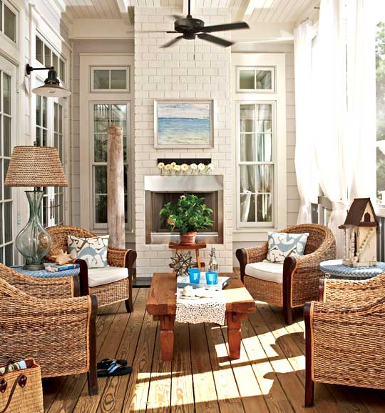 Hooked on hickory sunshine on a cloudy day our sun room for Sunroom with fireplace designs