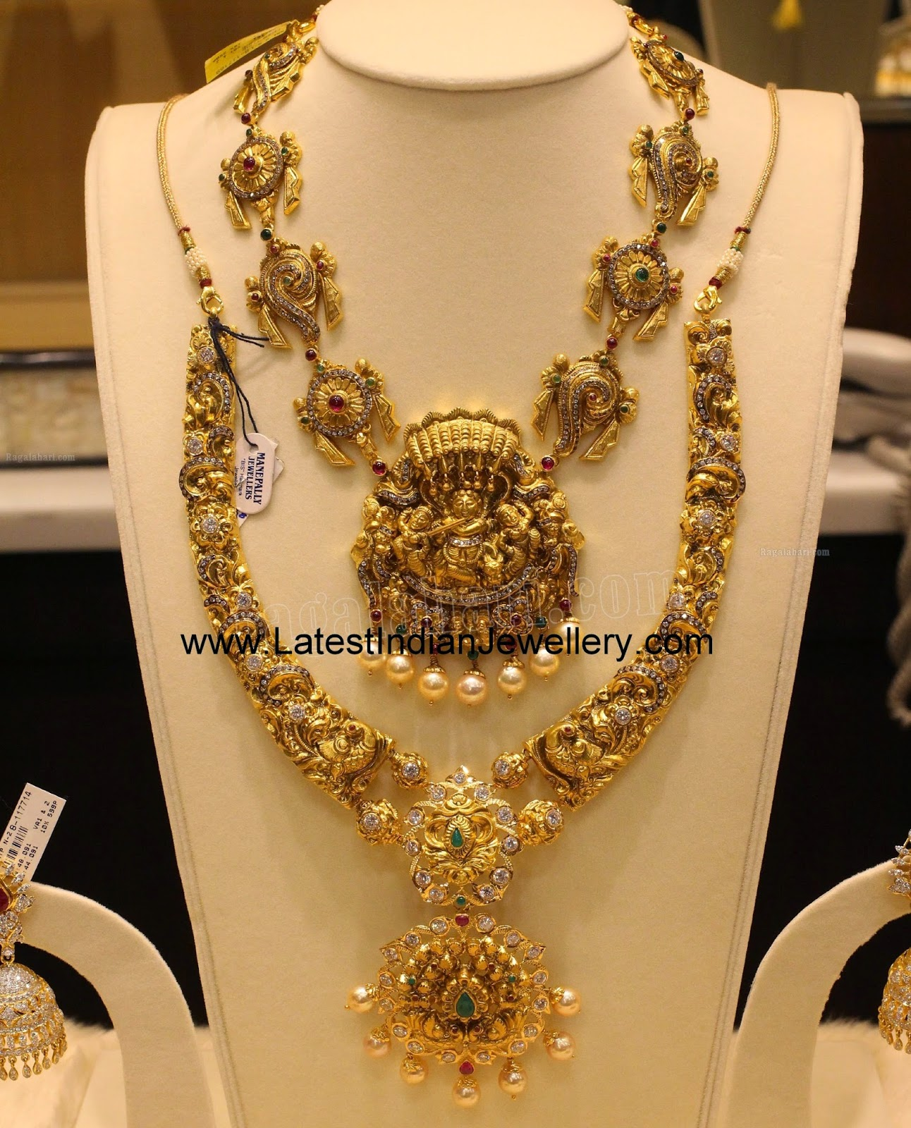 nakshi work gold temple jewellery