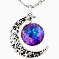Galaxy Necklace Cresent Moon and Galaxy Stone £6.69
