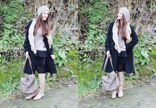 outfit: Neutrals & Black. Derpouli sweater/μπλουζα. Acchilleas accessories bag/tsanta. Neutral is the new black.