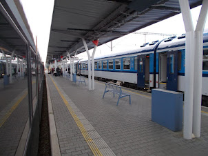 """""""Olomouc Train station"""". in Czechoslovakia.Notice the cleanliness. of a common railway station."""