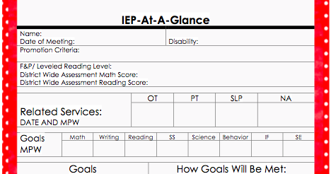 Inclusion and teaching in chicago iep at a glance for Year at a glance template for teachers