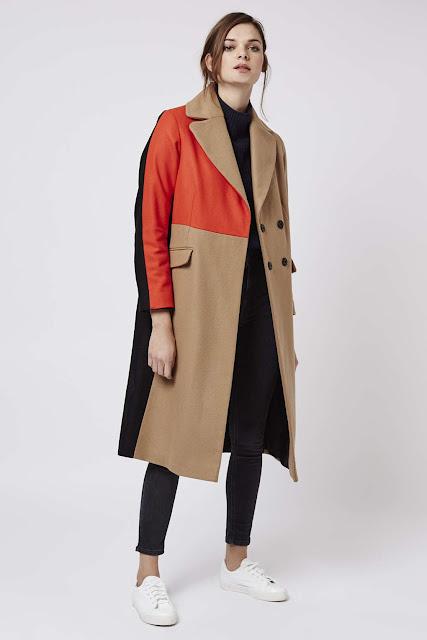 colour block camel coat, red camel coat,