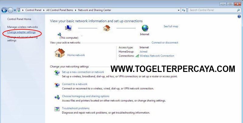 kemudian Network and Sharing Center, dan klik Change adapter settings.