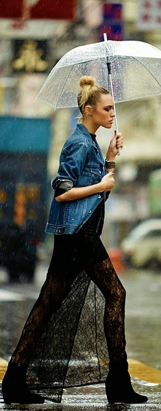 Wearing a Vintage Denim Jacket with Long Black Lace Skirt for Rainny Spring Day