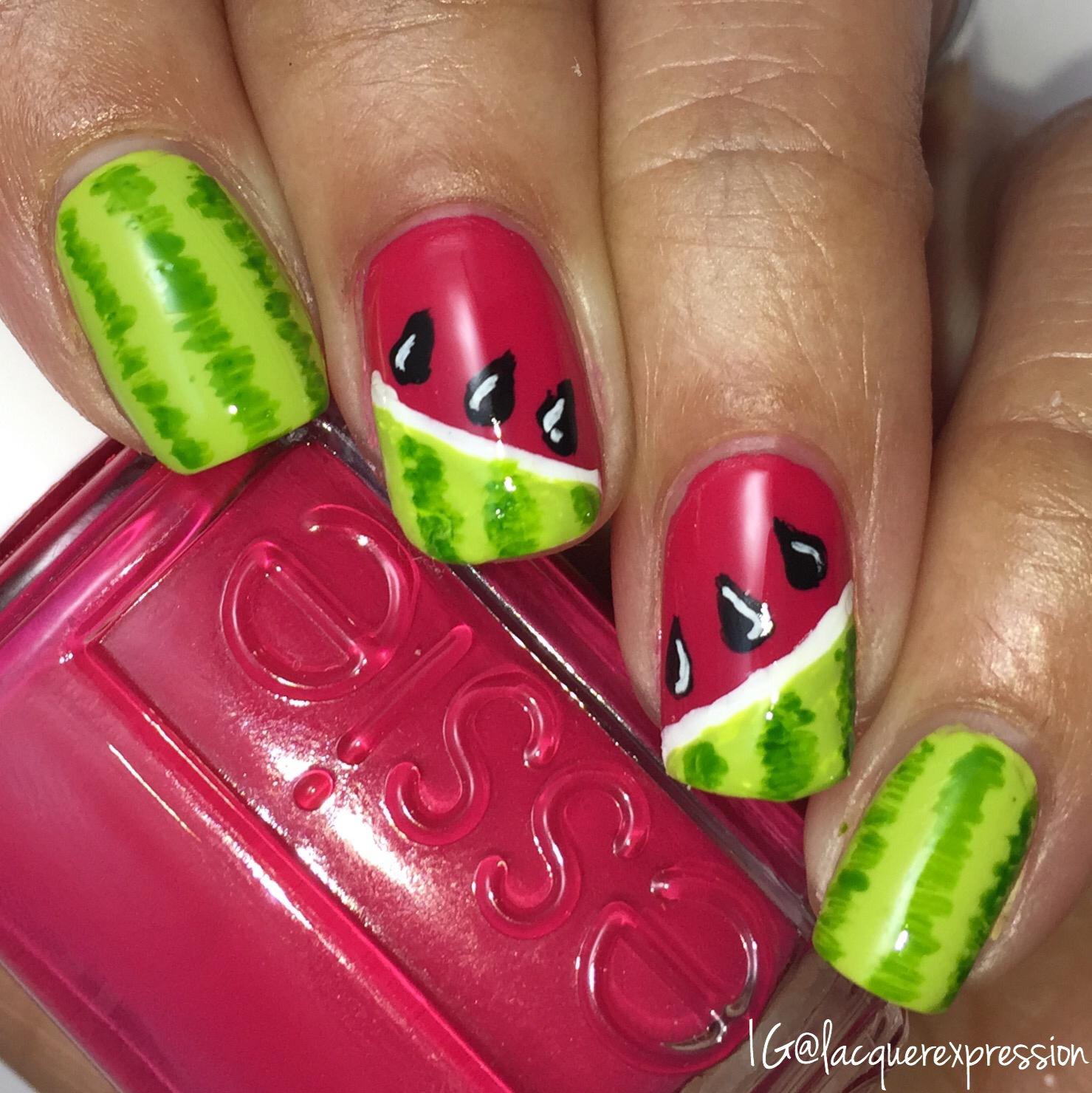 Nail Art - Watermelon Nails - LacquerExpression