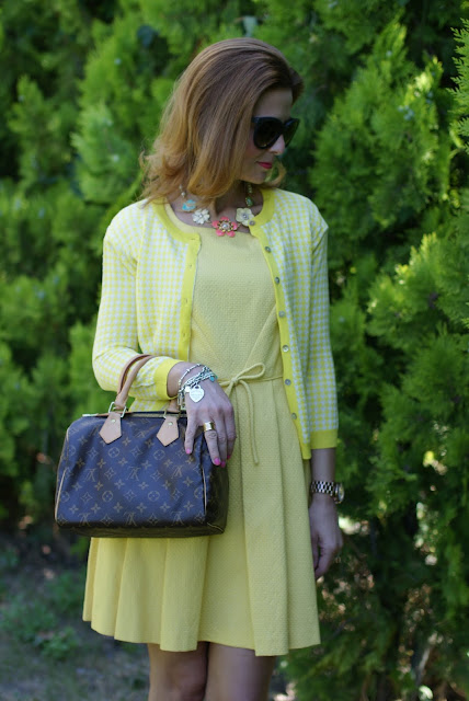 yellow bon ton dress, LV Speedy 25, Tiffany bracelets, Fashion and Cookies