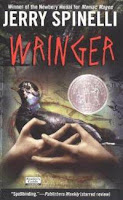 http://www.amazon.com/Wringer-Trophy-Newbery-Jerry-Spinelli/dp/0064405788/ref=sr_1_1?ie=UTF8&qid=1446916800&sr=8-1&keywords=wringer