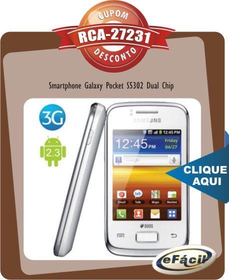 Smartphone Samsung Galaxy Pocket S5302 Dual Chip