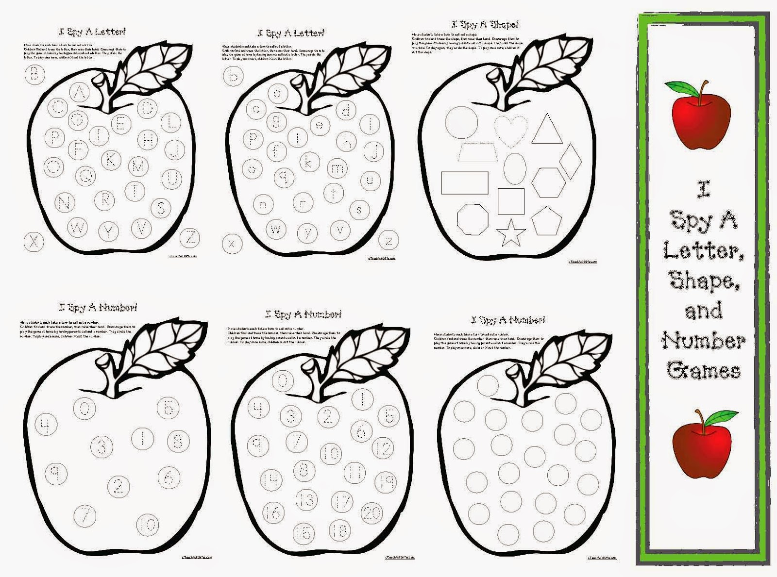 Classroom Freebies Apple Games I Spy Letters Shapes and Numbers – I Spy Worksheets