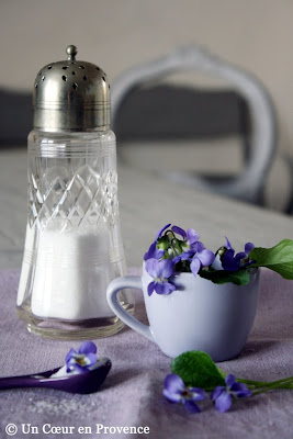 The ingredients for making crystallized violets