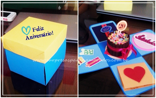 caixa explosão com bolo