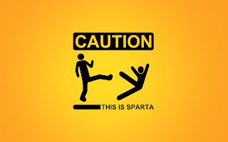 Caution : This Is Sparta ! Funny Sign Movie HD Wallpaper Epic