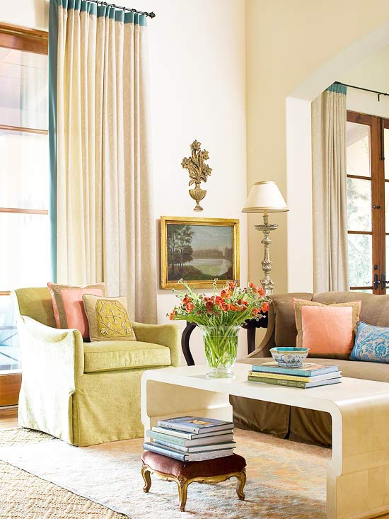 2013 neutral living room decorating ideas from bhg for Neutral lounge decorating ideas