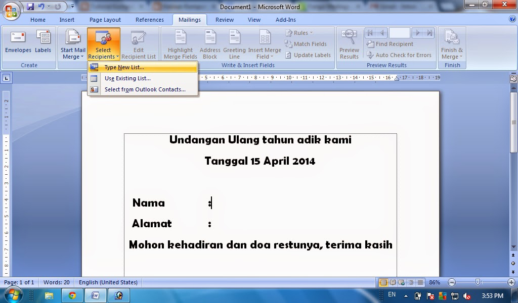 Cara Membuat Surat Masal Mail Merge Pada Microsoft Office Word Tutorial Komputer